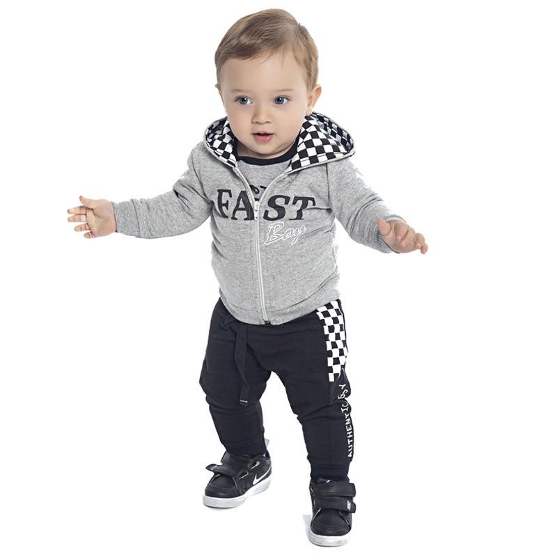 Calça DDK Infantil Menino Xadrez Preto