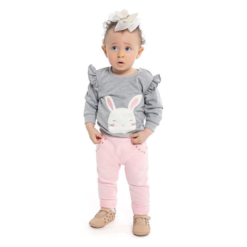 Calça Duduka Infantil Menina com Bolso Rosa