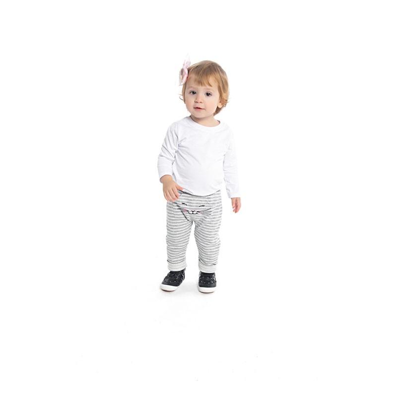 Calça Duduka Infantil Menina Listrada Cinza
