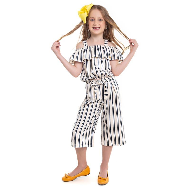 Calça Paytê Infantil Menina Pantacourt Azul