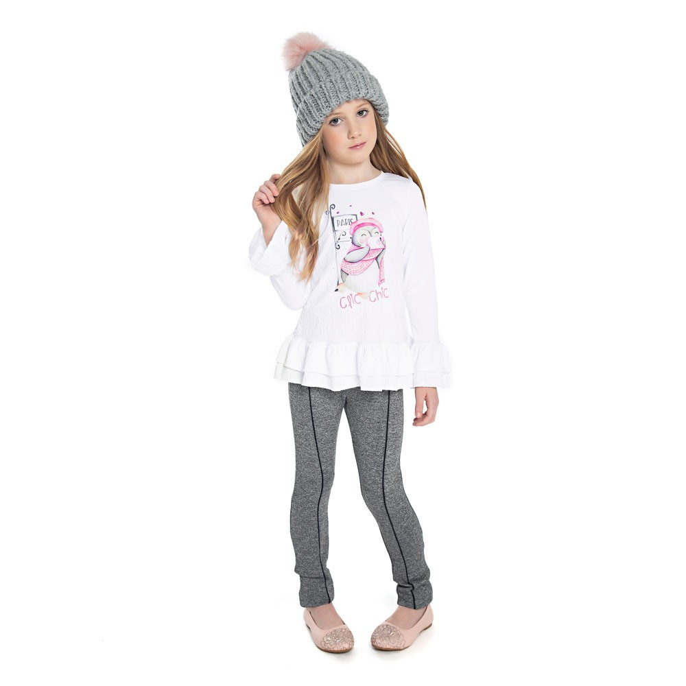 Calça Legging Paytê Infantil Menina em Suplex Cinza
