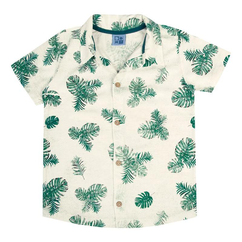 Camisa Infantil Menino em Linho  Azul