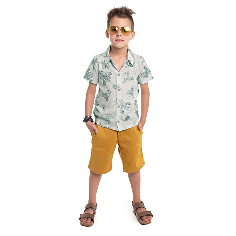 Camisa Infantil Menino em Linho  Cinza