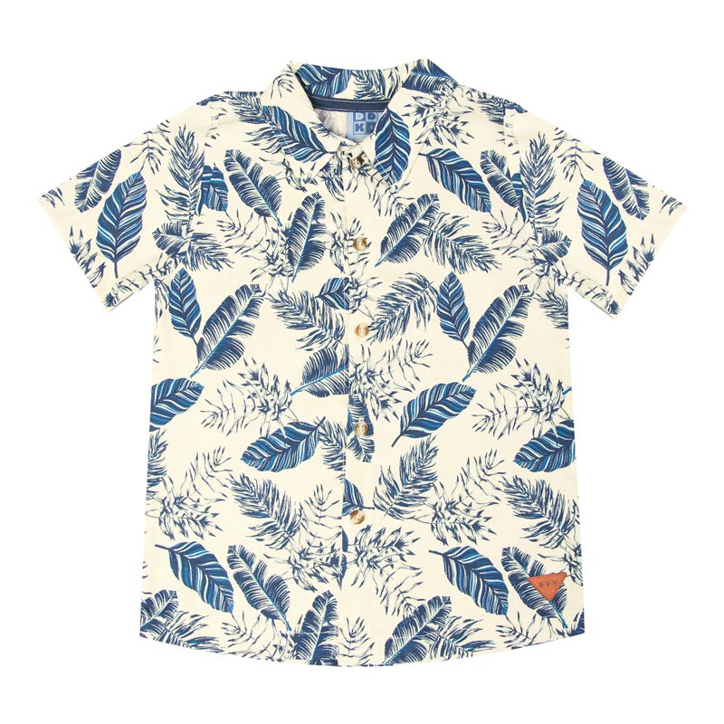 Camisa Infantil Menino Folhas Azul