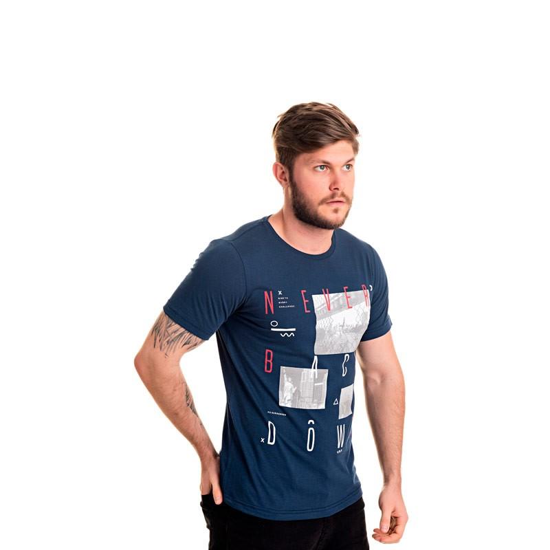 Camiseta Adulto Infantil Fotos Azul