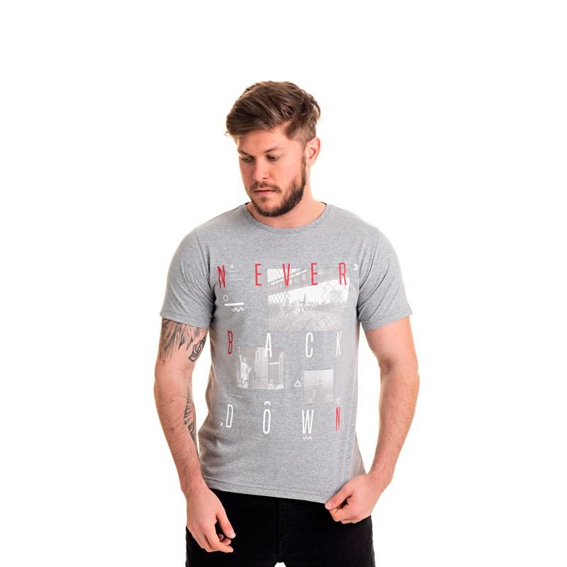 Camiseta Adulto Infantil Fotos Cinza