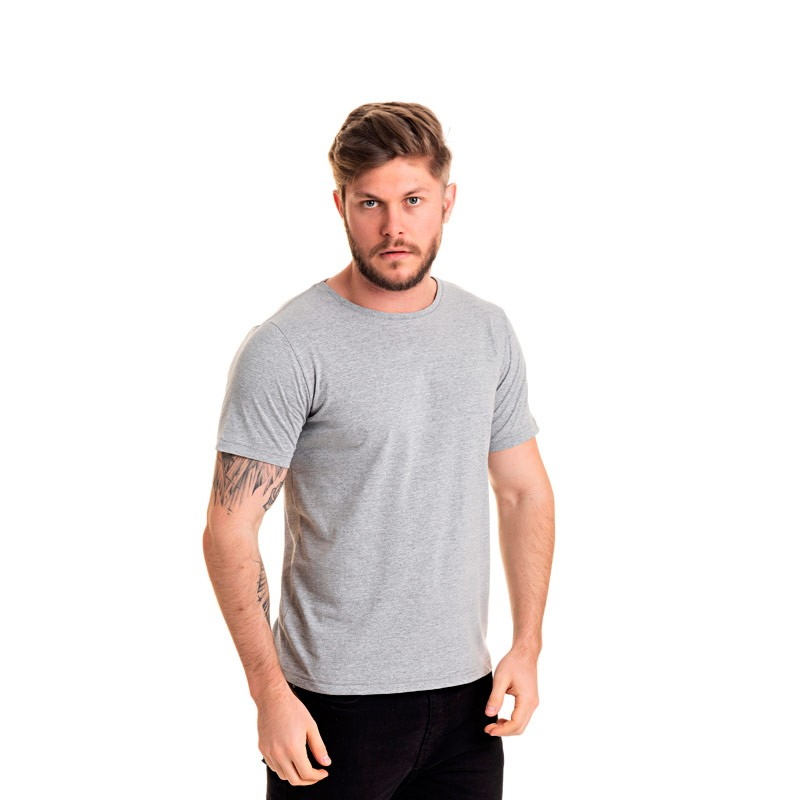 Camiseta Adulto Masculina Básica Cinza