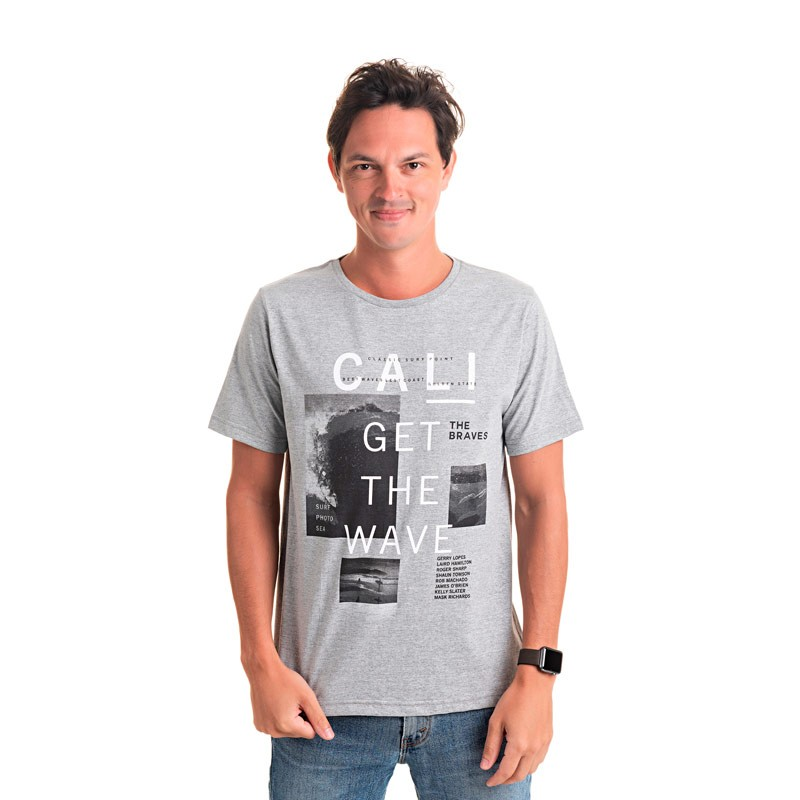 Camiseta Adulto Masculina-Cali -Cinza