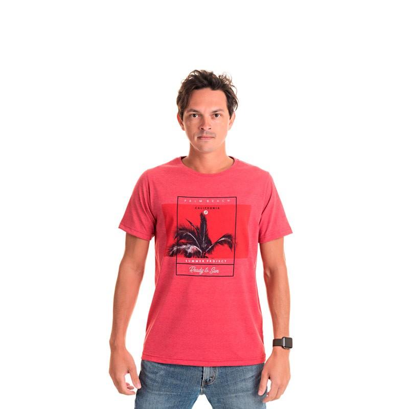 Camiseta Adulto Masculina Califórnia Vermelho