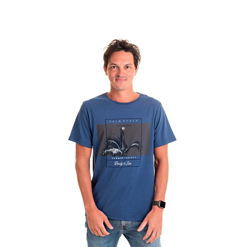 Camiseta Adulto Masculina Califórnia Azul