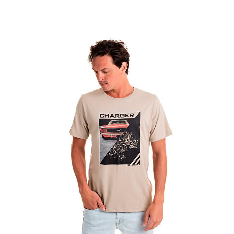 Camiseta Adulto Masculina Charger Bege