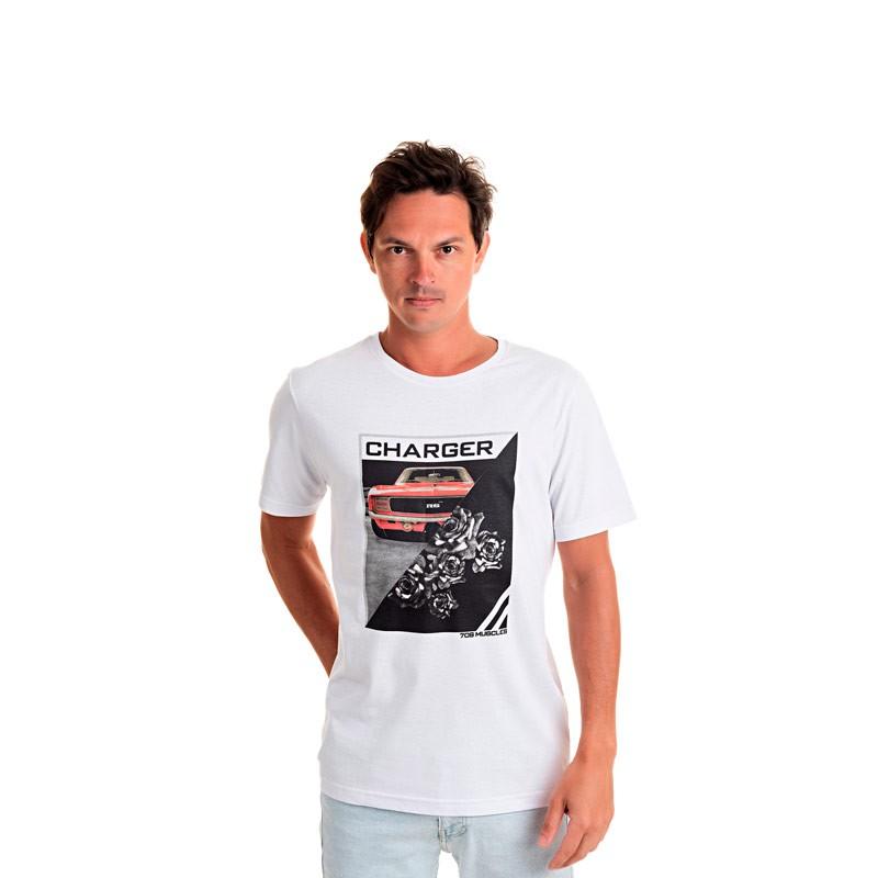 Camiseta Adulto Masculina Charger Branco