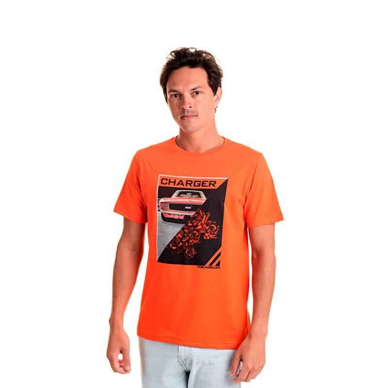 Camiseta Adulto Masculina Charger Laranja