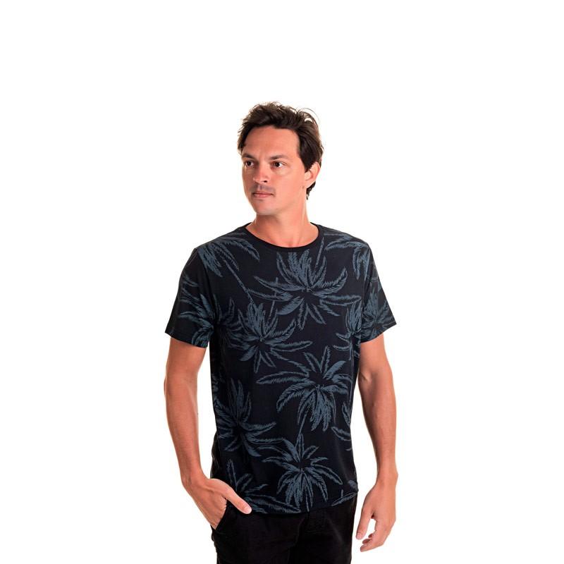 Camiseta Adulto Masculina Coqueiro Preto