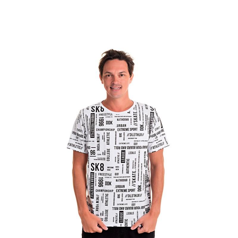Camiseta Adulto Masculina Escrita Branco