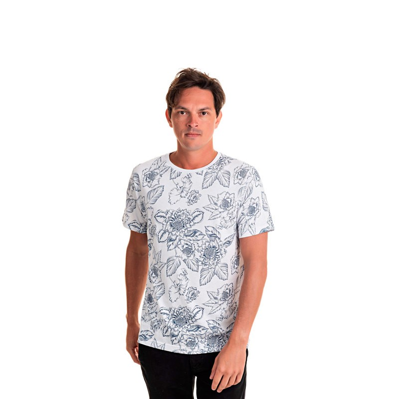 Camiseta Adulto Masculina Folhas Azul