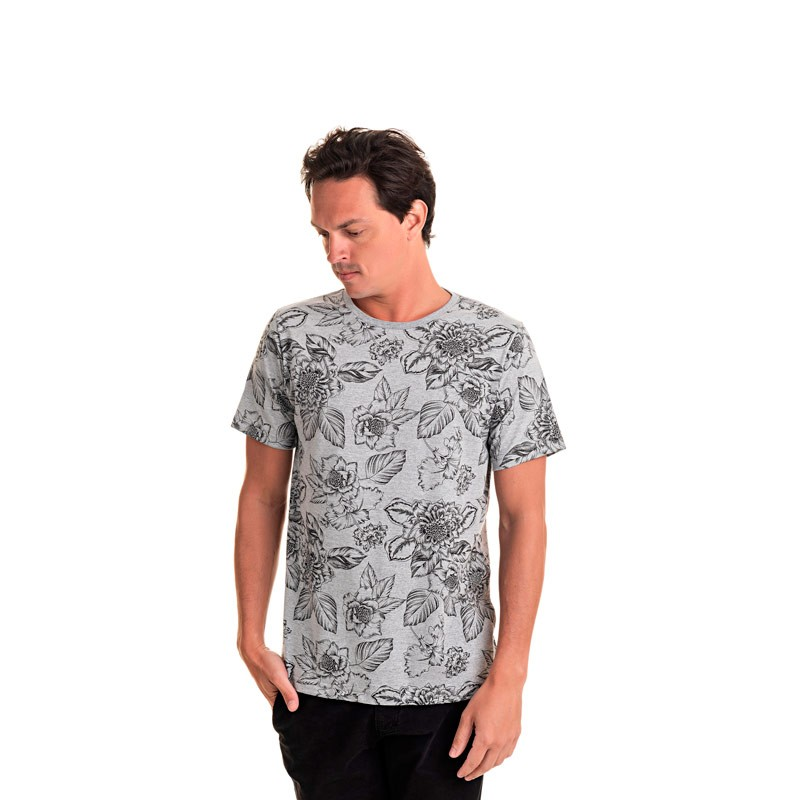 Camiseta Adulto Masculina Folhas Cinza