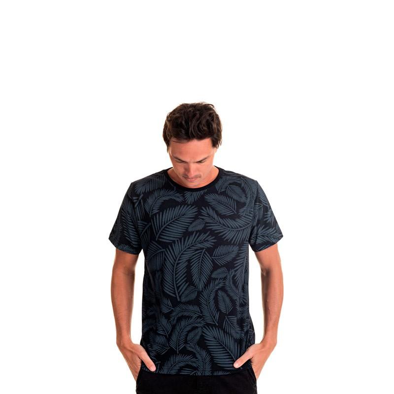 Camiseta Adulto Masculina Folhas Preto
