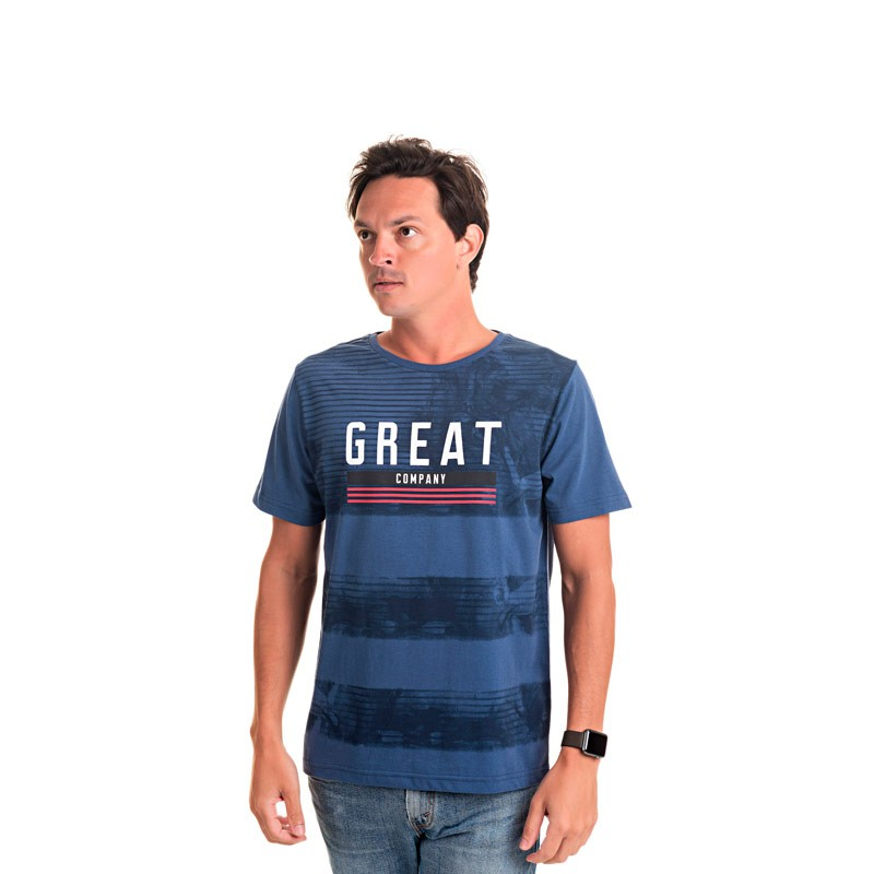 Camiseta Adulto Masculina Great Azul