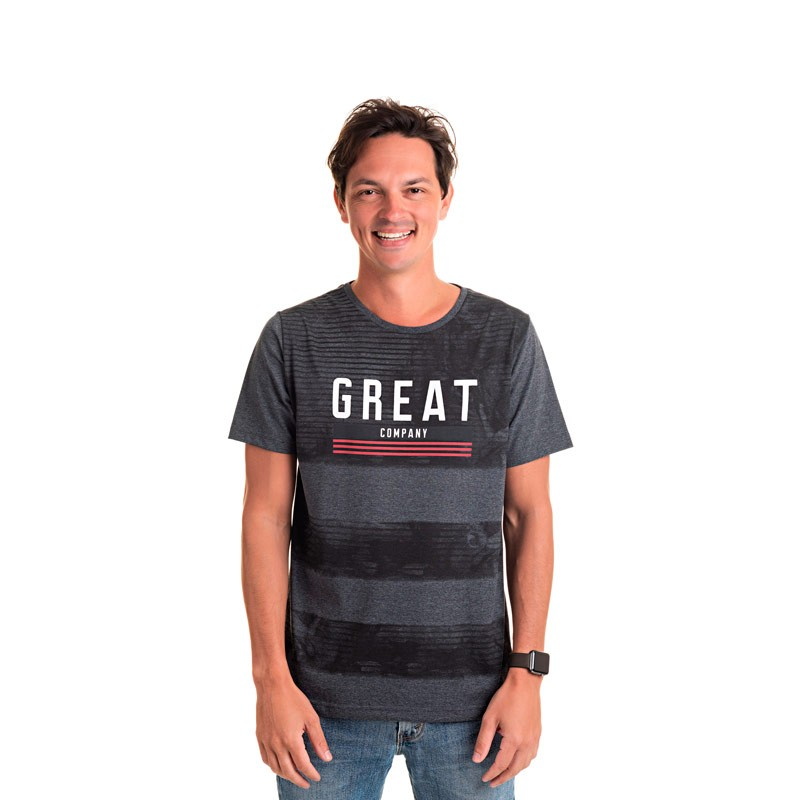 Camiseta Adulto Masculina Great  Preto