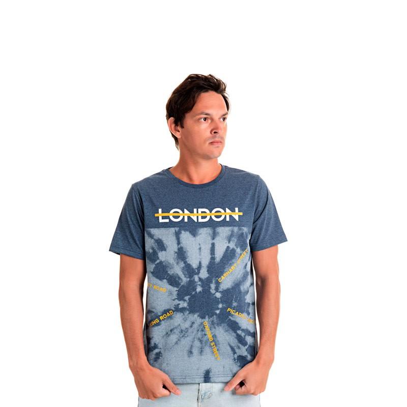 Camiseta Adulto Masculina London Azul