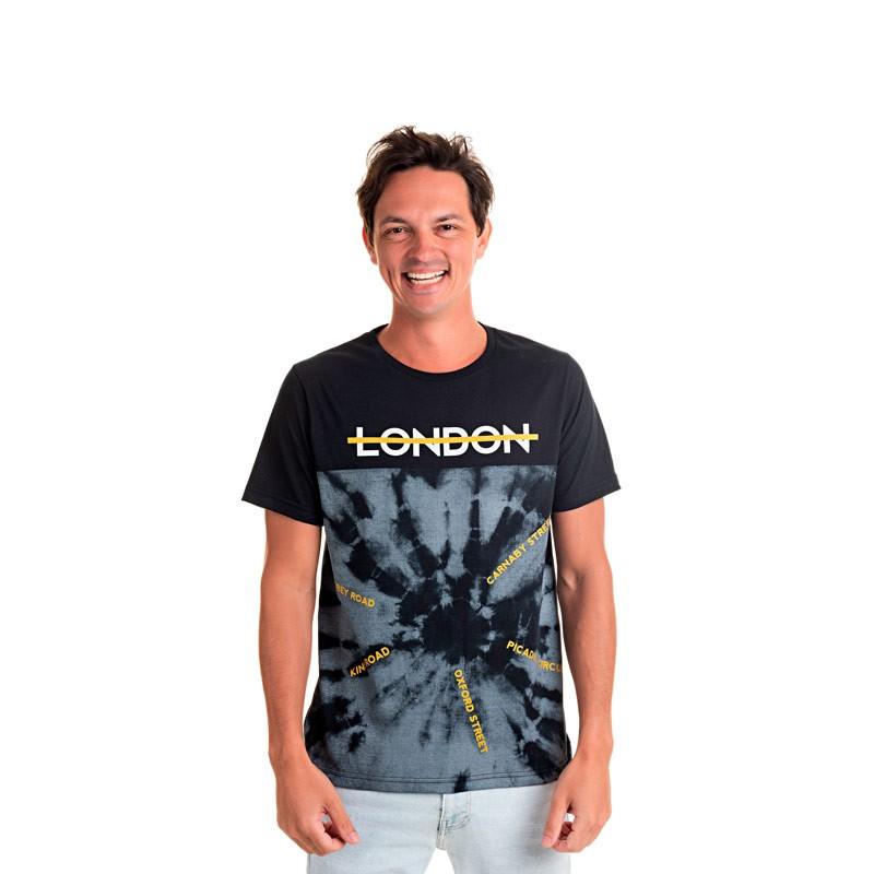 Camiseta Adulto Masculina London Preto