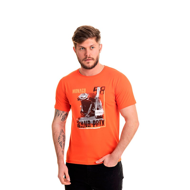 Camiseta Adulto Masculina Monaco Laranja
