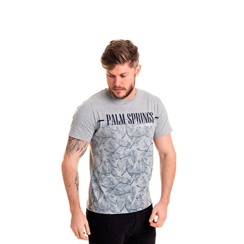 Camiseta Adulto Masculina-Palm-Cinza