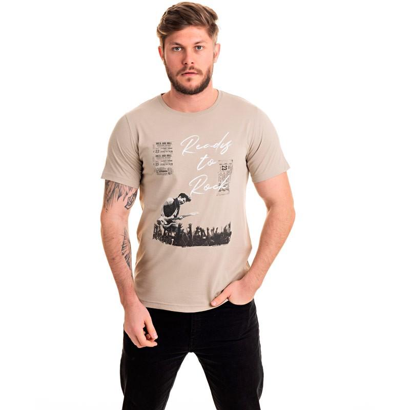 Camiseta Adulto Masculina Rock Bege