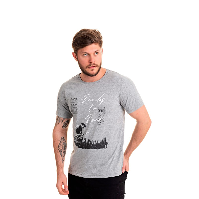 Camiseta Adulto Masculina Rock Cinza