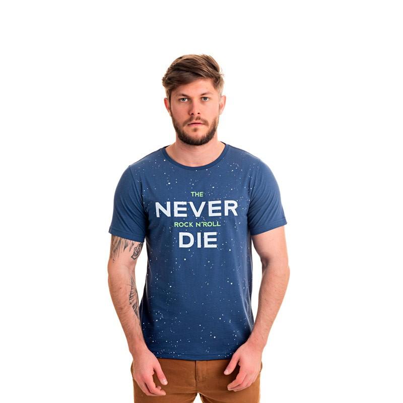 Camiseta Adulto Masculina Rock N Roll Azul