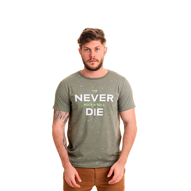 Camiseta Adulto Masculina Rock N Roll Verde