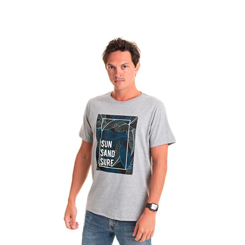 Camiseta Adulto Masculina Surf Cinza