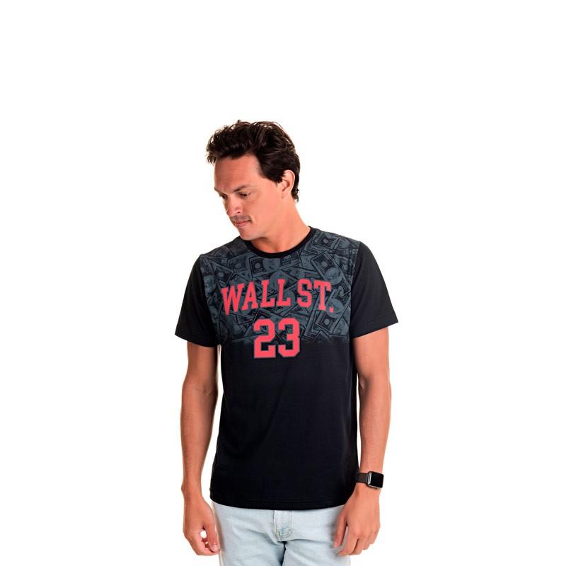 Camiseta Adulto Masculina Wall St Preto