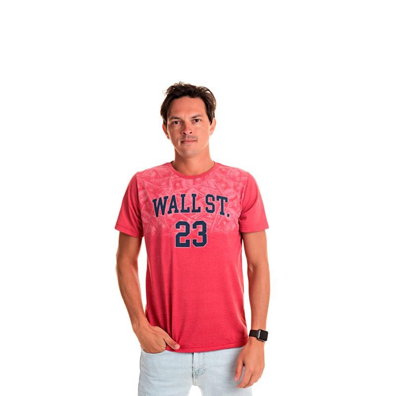 Camiseta Adulto Masculina Wall St Vermelho