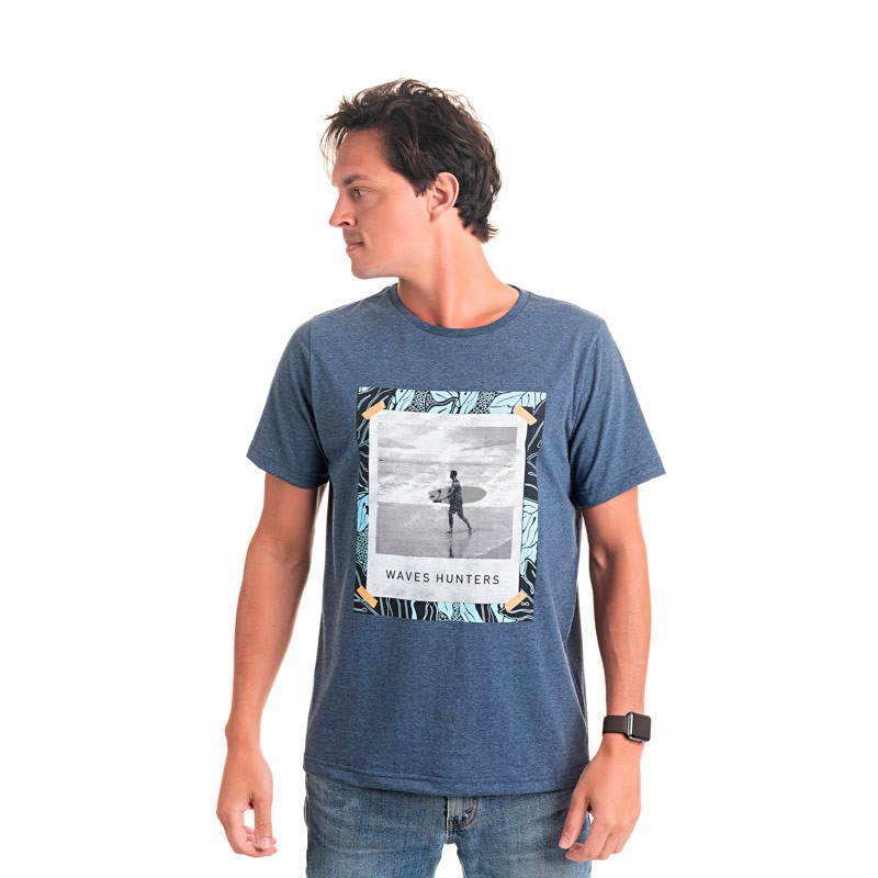 Camiseta Adulto Masculina Waves Azul