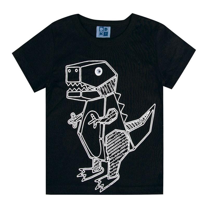 Camiseta Bebê Menino Dinossauro Preto