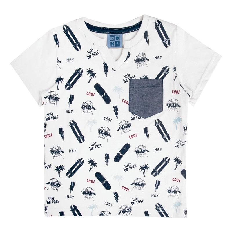 Camiseta Bebê Menino Skate e Cachorro Branco