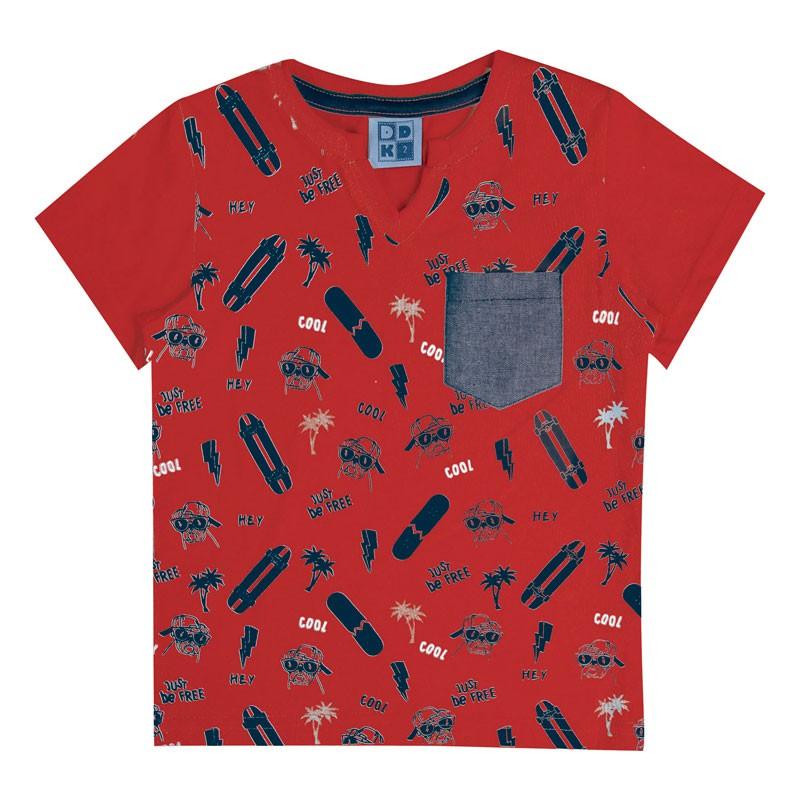 Camiseta Bebê Menino Skate e Cachorro Vermelho