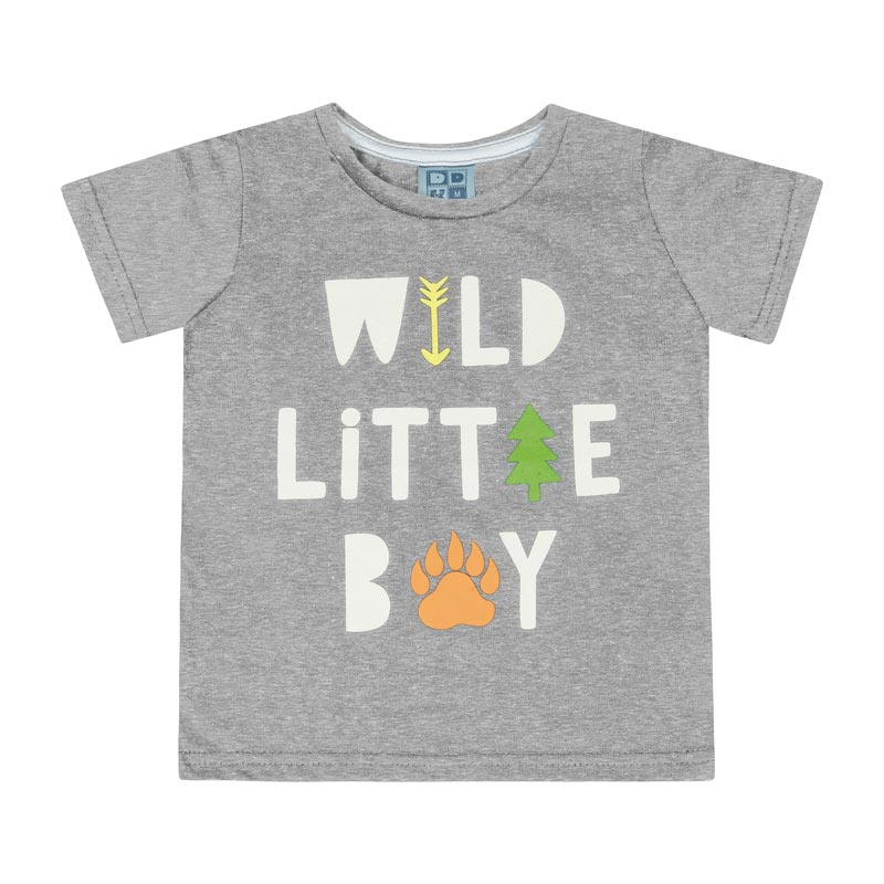 Camiseta DDK Bebê Menino Wild Little Boy Cinza