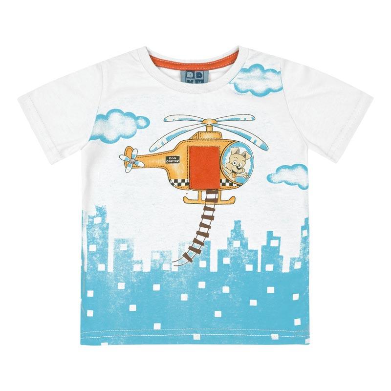 Camiseta DDK Bebê Menino Helicóptero Branco