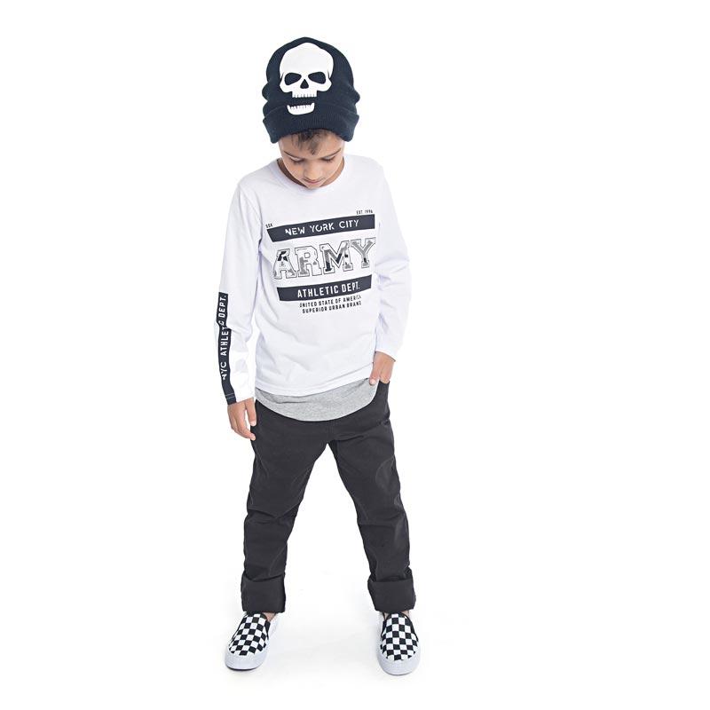 Camiseta DDK Infantil Menino Army Branco