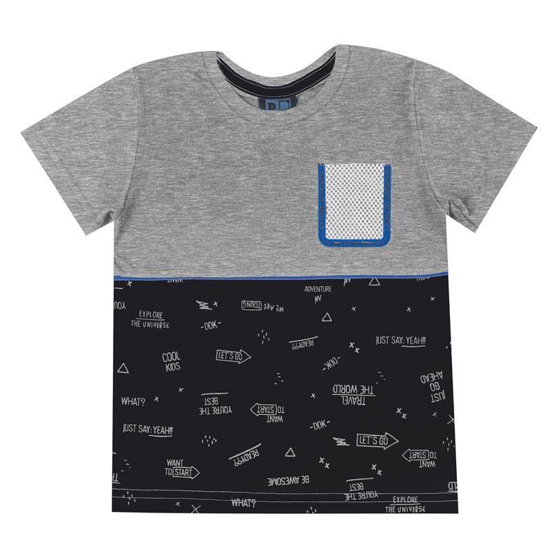 Camiseta DDK Infantil Menino com Bolso Cinza