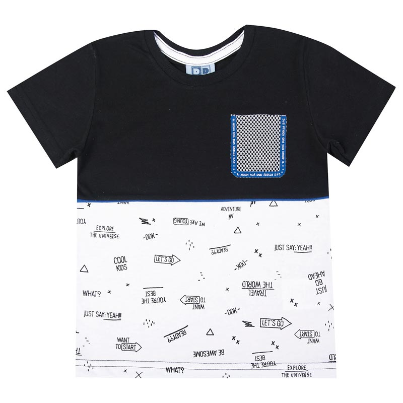 Camiseta DDK Infantil Menino com Bolso Preto
