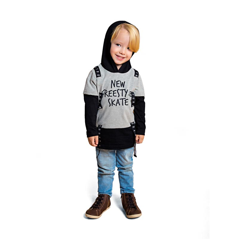 Camiseta DDK Infantil Menino com Capuz Cinza