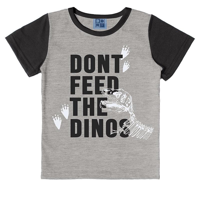 Camiseta DDK Infantil Menino Dinos Cinza