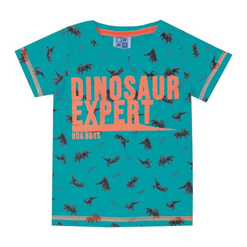 Camiseta DDK Infantil Menino Dinosaur Expert Verde