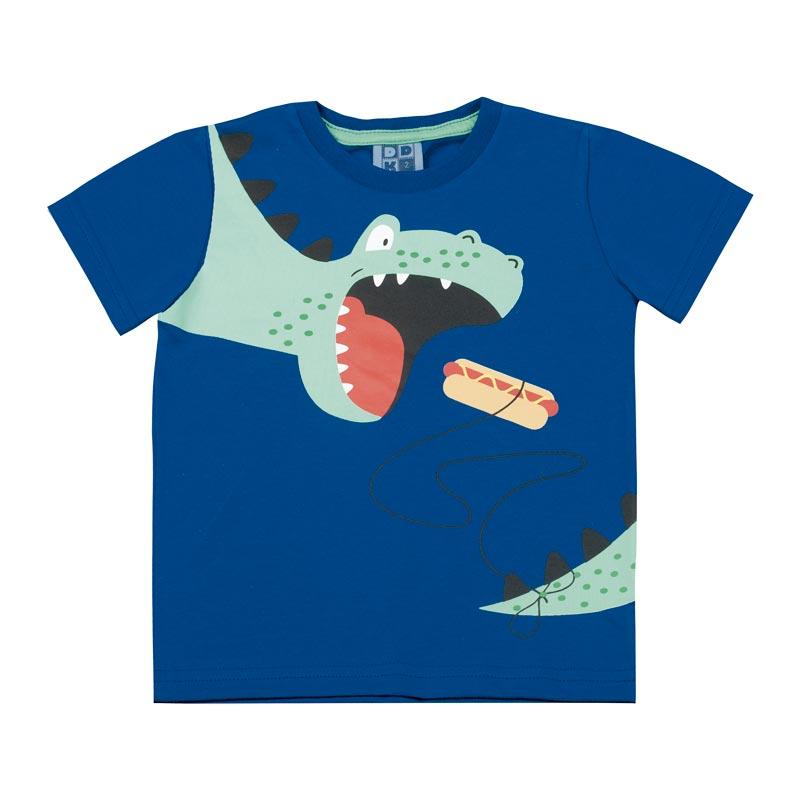 Camiseta DDK Infantil Menino Dinossauro Azul