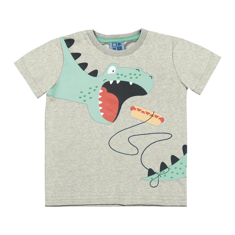 Camiseta DDK Infantil Menino Dinossauro Cinza