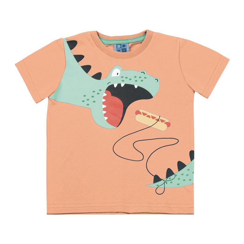 Camiseta DDK Infantil Menino Dinossauro Laranja